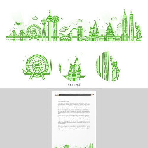America Big Cities Illustration