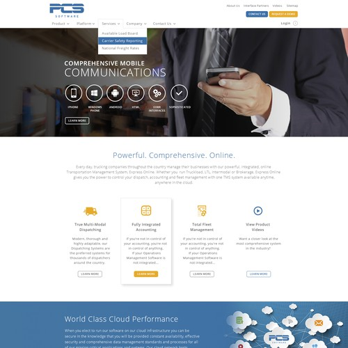 Create a website design for desired trucking software