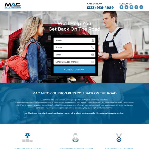 Landing page for Mac Auto Collision