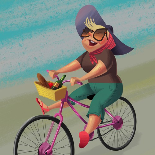 Free spirited woman riding bike
