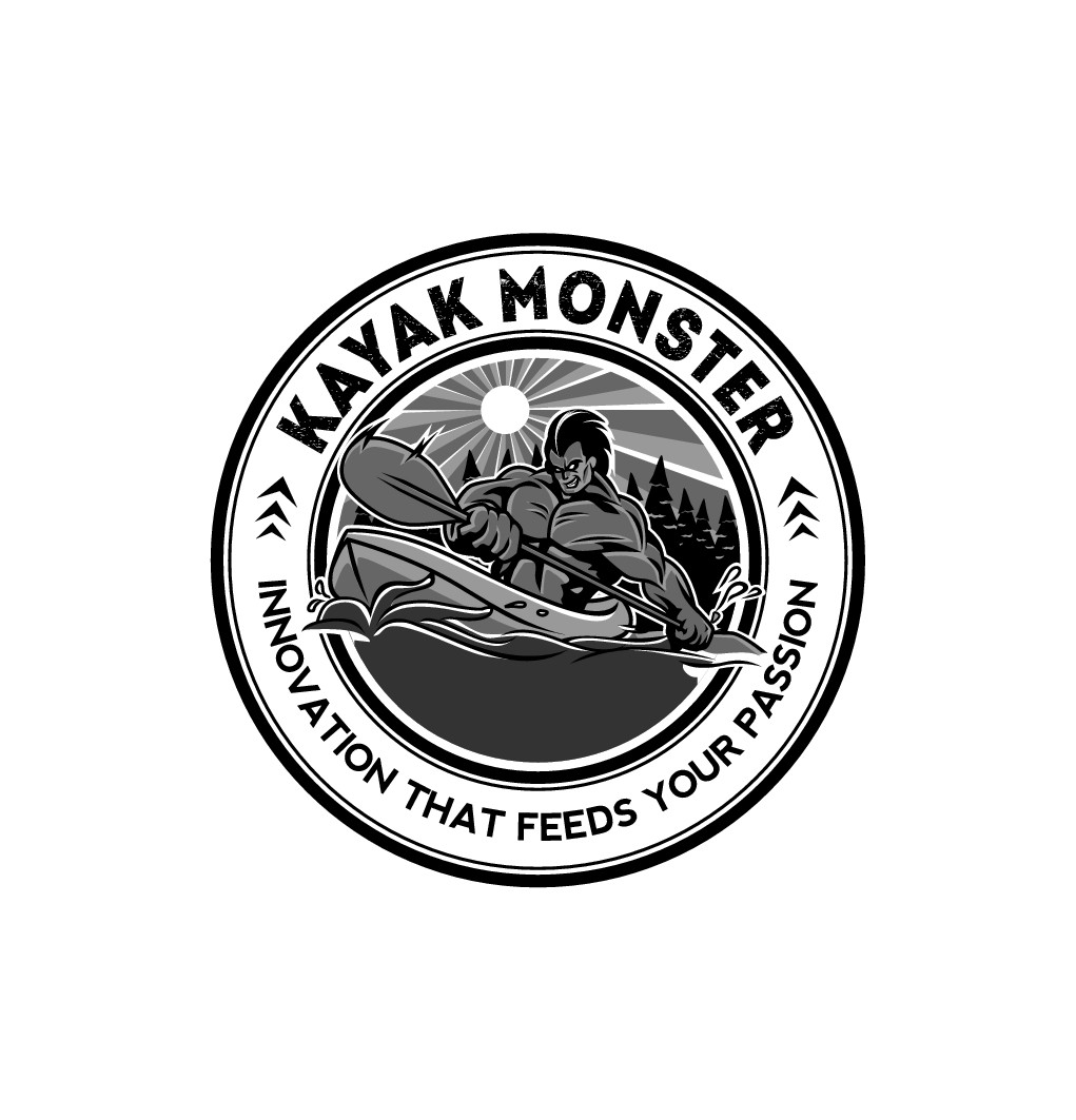Design a awesome monster logo for kayaking