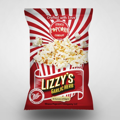 Foil Bag label design for a Popcorn Company