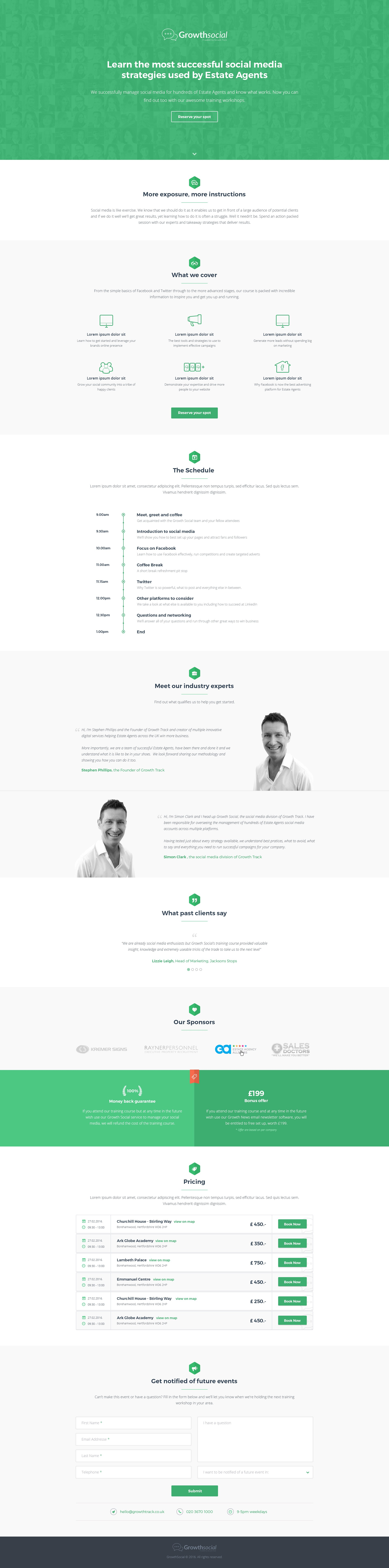 Create a captivating clean style landing page for social media training workshops