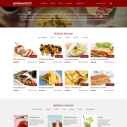 Design for a Swiss food & drink recipes website