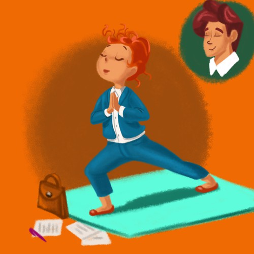 Business yoga sketch