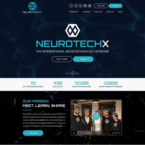 website for Non-profit organization in neurotechnology.