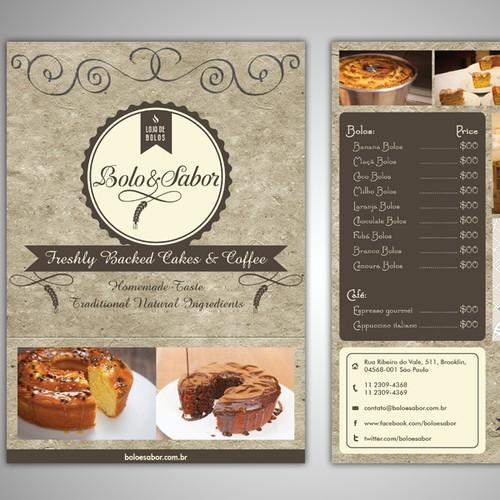 Create the next postcard or flyer for Bolo & Sabor