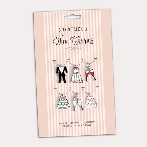 Back card for wedding themed wine charms