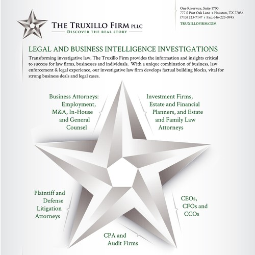 Flyer for investigative law services company