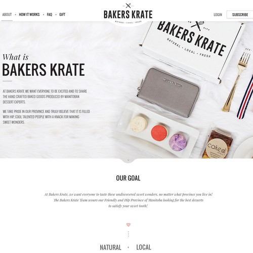 Web page for Bakers Krate