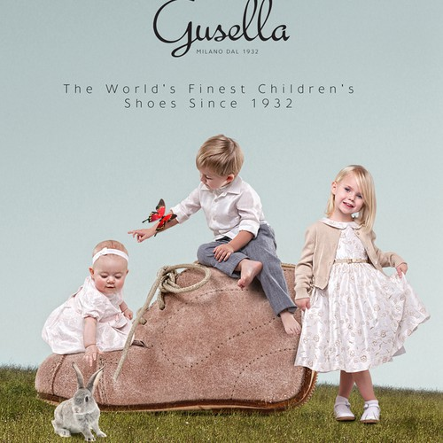 Create a whimsical yet classical brand leaflet with original key image for luxury children's shoe maker Gusella!
