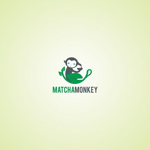Matcha Monkey Logo Design