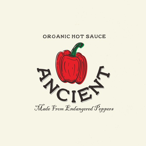 Design for logo contest Ancient. Organic hot sauce