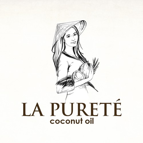 Hand drawn logo for coconut oil manufacture