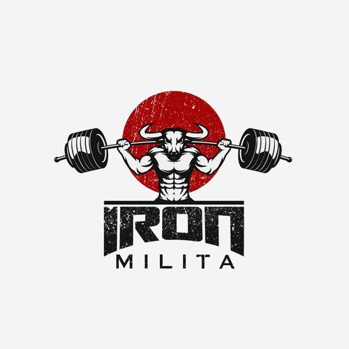 Strong weight lifting beast logo