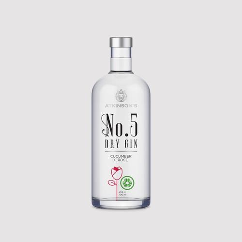 No.5 Gin bottle design