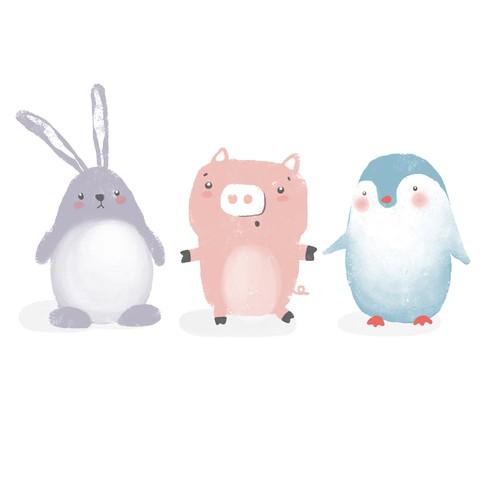 Baby animals restaurant mascots