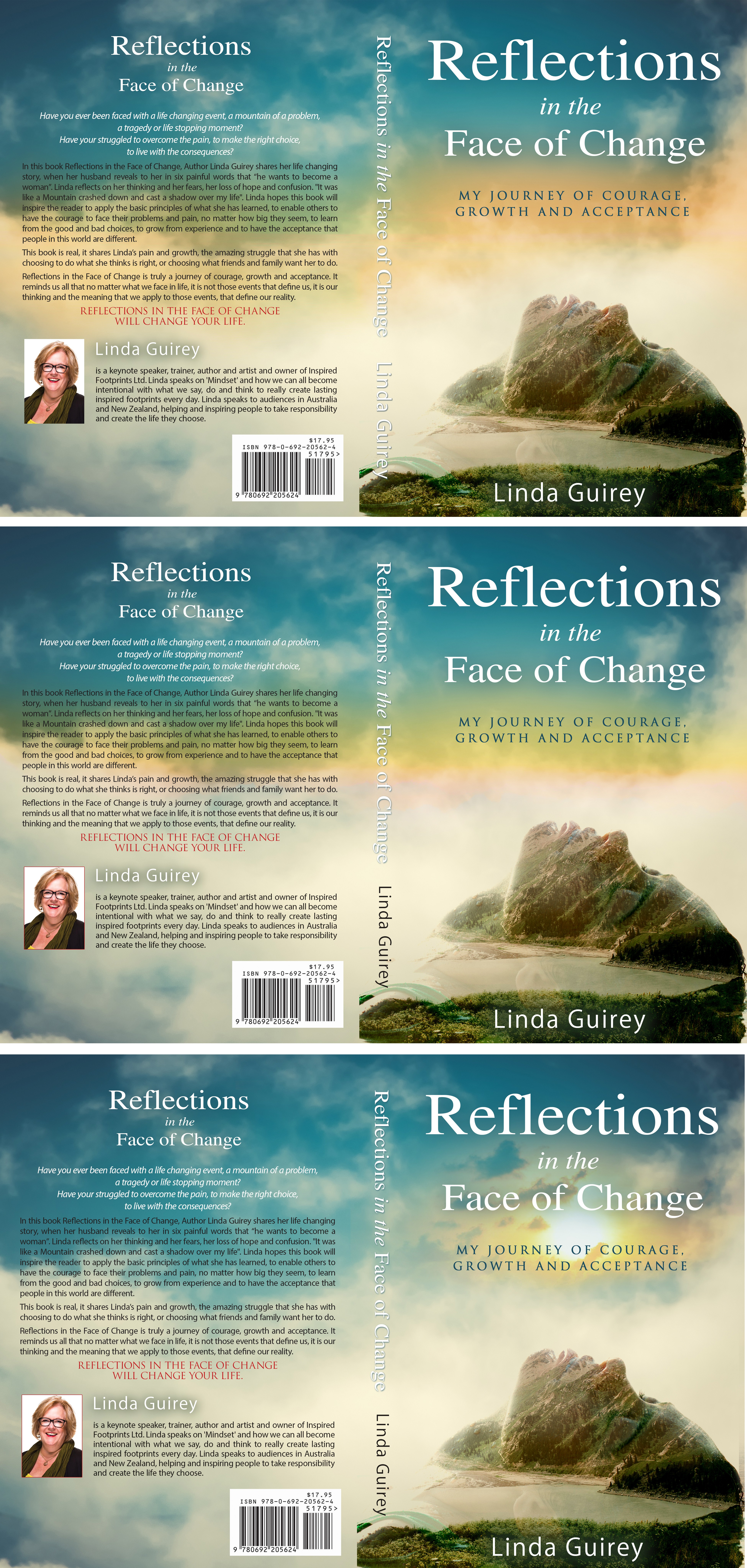 "Create an inspirational book cover for ""Reflections in the Face of Change"""
