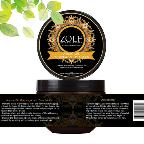Create a label for ZOLF HAIR EXTENSIONS Hair Serum and hair Mask bottle