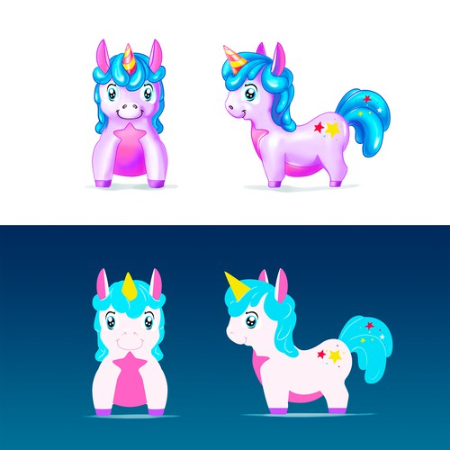 Unicorn bouncing toy (hopper toy) design concept - one of 5 designs.