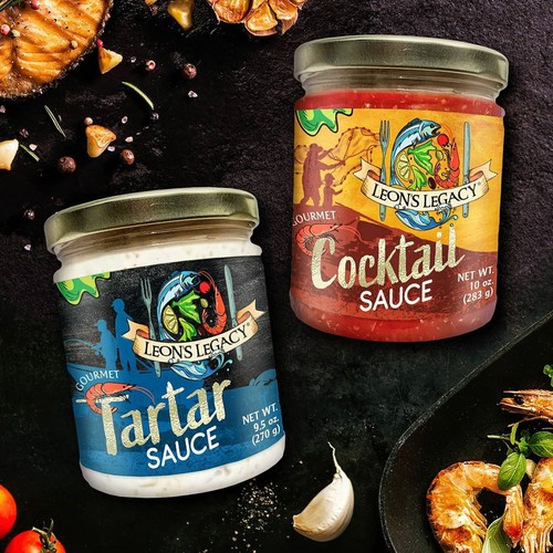 Label design for American seafood sauces