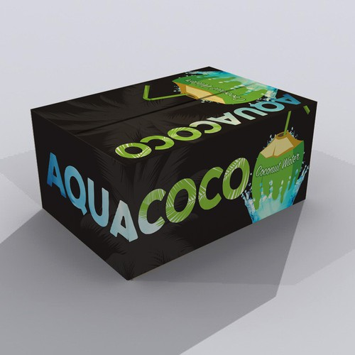 Bold packaging design for Aquacoco Coconut Water.