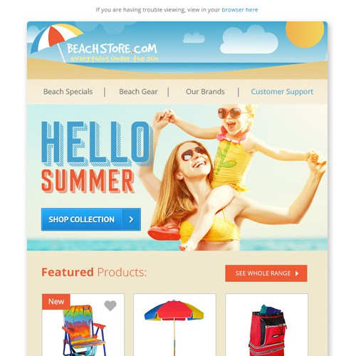 Beach Store email campaign design