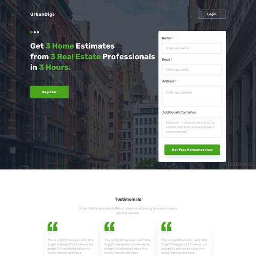 Landingpage for NYC Real Estate Service