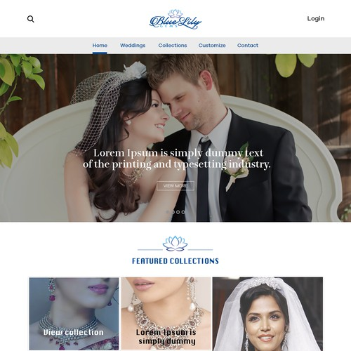 wedding services webpage design