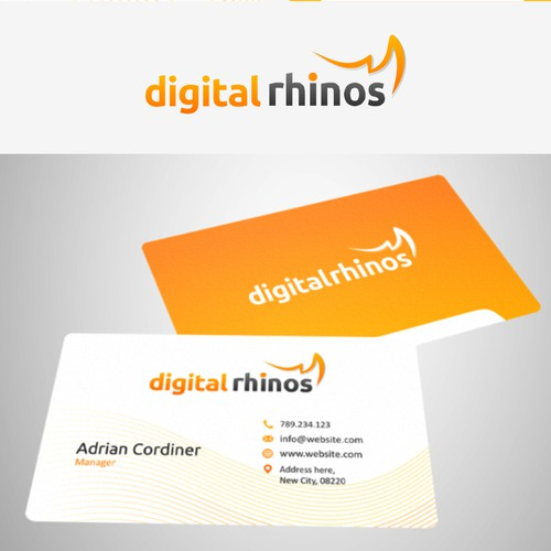Create the next logo and business card for Digital Rhinos