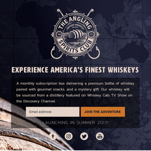 Landing page for the Whiskey of the Month Club