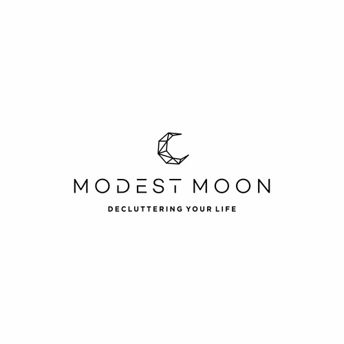 modern minimalist & luxury geometric logo concept for modest moon