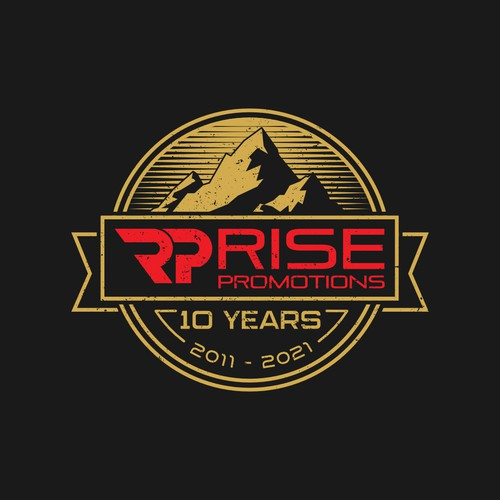 Vintage and Rustic Logo Concept for Rise Promotions 10 Year