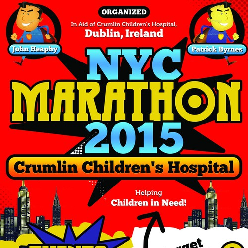 NYC Marathon 2015 Poster - Marvel Comic/Disney Theme