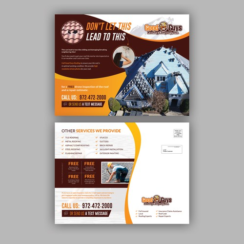 Postcard Design for Roofing Company