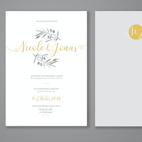 Tuscan inspired wedding invitation