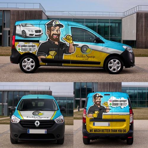 GOLDEN SPONGE van wrap design