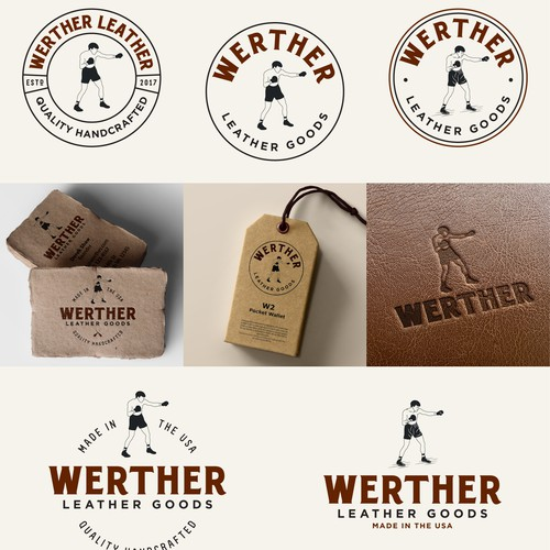 Vintage Boxing Inspired Logo for a Leather Goods Company