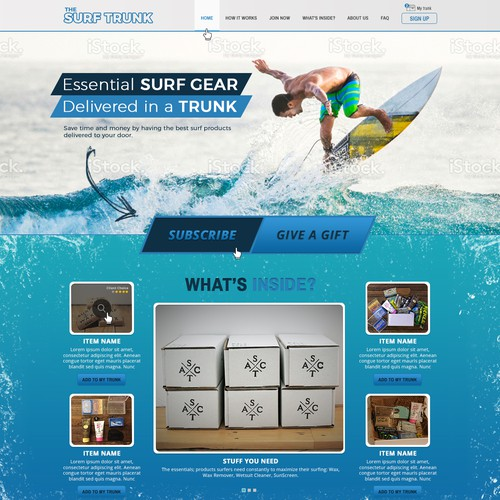 Web design for e-commerce surf Home page.