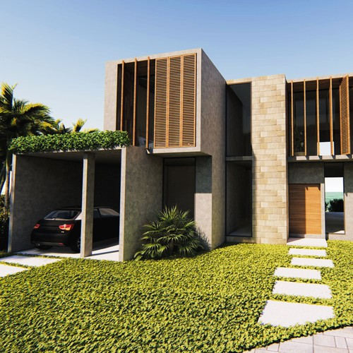 Contemporary and rustic facade for a beach house.