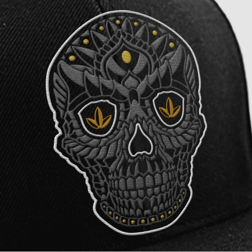 skull embroidered hat design