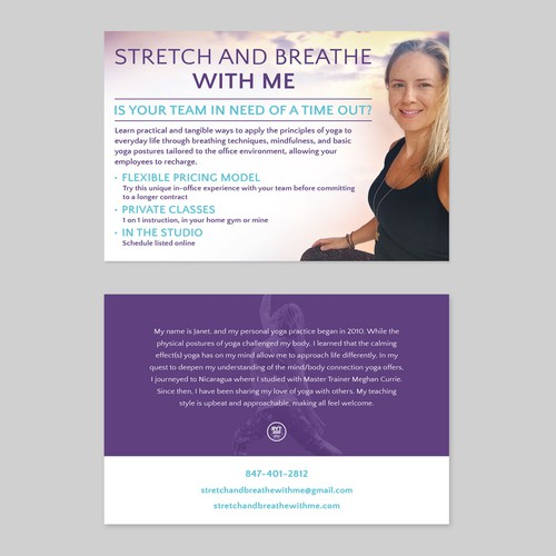 Beautiful flyer for yoga practitioners