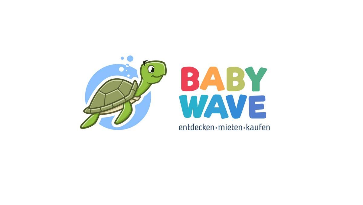 Kindergerechtes Logo für Baby Wave; entdecken - mieten - kaufen von Kinderartikeln