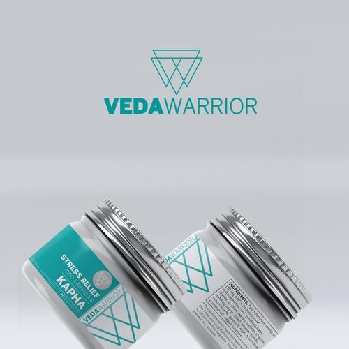 VedaWarrior, stress relief pill, Label Design.