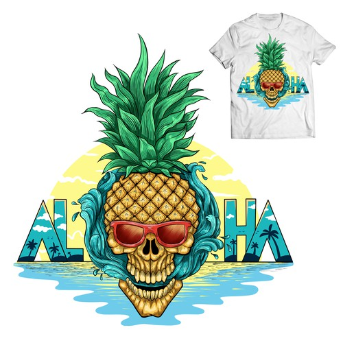 Aloha Pineapple Skull T-Shirt for Lifestyle Brand
