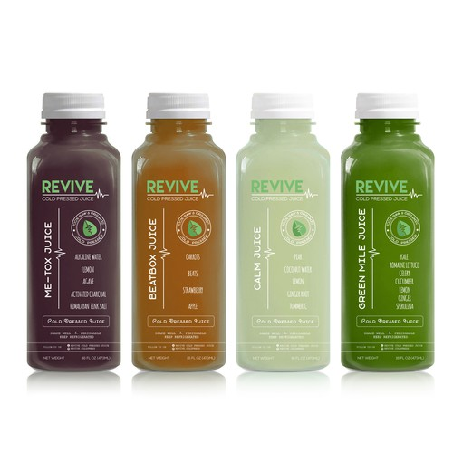 Label design for Revive Cold Pressed Juice company