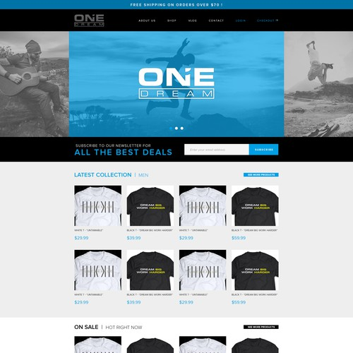 "Website Design For ""One Dream"" T-shirts"