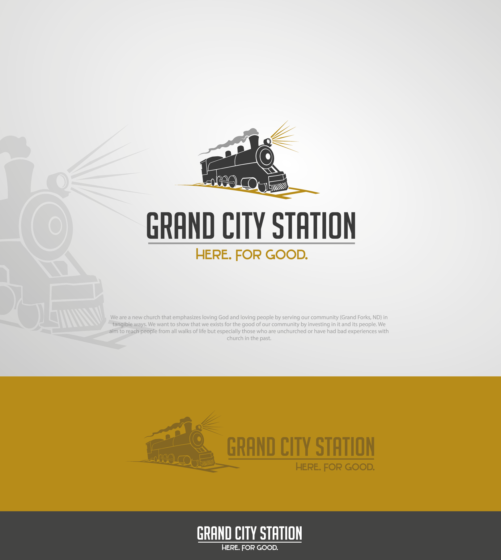 Grand City Station needs a logo with a modern twist on classic trains