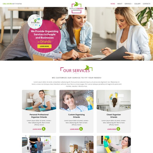 Homepage design concept for Serviceberry Organizing