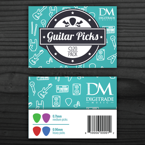 Card Head on poly bag for Guitar Picks of Digitrade Music.